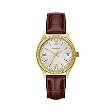 Caravelle Goldtone Stainless Coin-Edge Watch