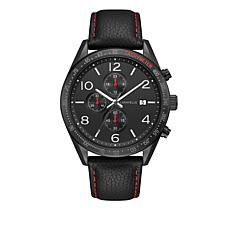 Caravelle Men's Black Dial Leather Chronograph Subdial  Watch