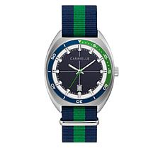 Caravelle Men's Blue and Green Nylon Strap Watch