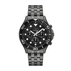 Caravelle Men's Gunmetaltone Black Dial Chronograph Watch