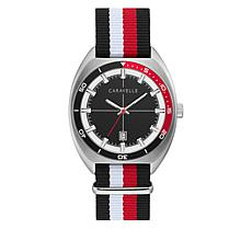 Caravelle Men's Red and Black Nylon Strap Watch