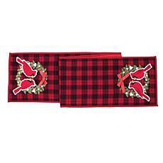 Cardinal Plaid Wreath Table Runner
