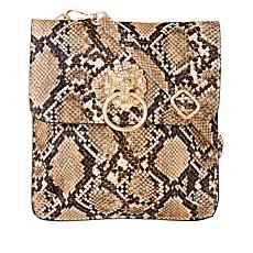 Carlos by Carlos Santana Mia Faux Ostrich Lion's Head Small Crossbody