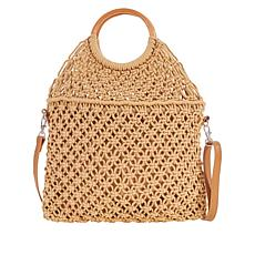 Carlos by Carlos Santana Wood Handle Macramé Tote