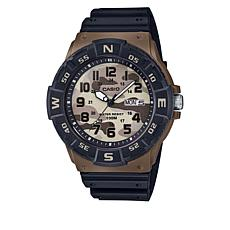 Casio Men's Dive-Style Black and Brown Strap Watch