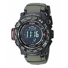 Casio Pro Trek Men's Triple Sensor Atomic Solar Watch - Green Silicone