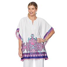 Caya Costa Border-Print Caftan with UV Protection