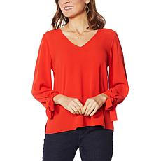 CeCe Solid Tie-Sleeve Top