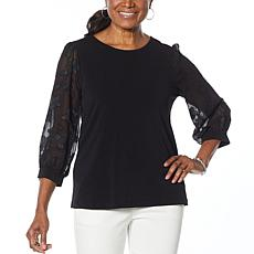 CeCe Voluminous Lace-Sleeve Top