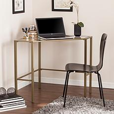 Chace Metal Glass Corner Desk - Matte Khaki