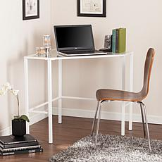 Chace Metal Glass Corner Desk - White