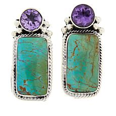 Chaco Canyon Ceremonial Turquoise and Amethyst Earrings
