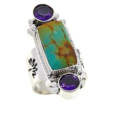 Chaco Canyon Ceremonial Turquoise and Amethyst Elongated Ring
