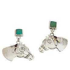 Chaco Canyon  Ceremonial Turquoise and Garnet Horse Earrings