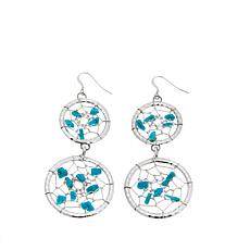 "Chaco Canyon ""Dreamcatcher"" Turquoise Drop Earrings"
