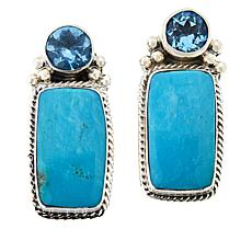 Chaco Canyon Kingman Turquoise and Swiss Blue Topaz Earrings