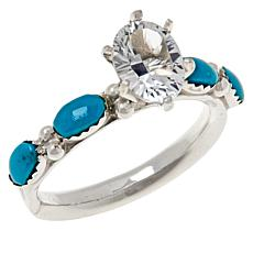 Chaco Canyon Kingman Turquoise and White Topaz Station Ring