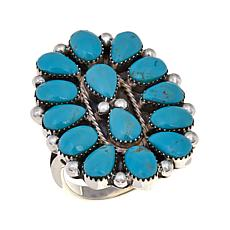 Chaco Canyon Kingman Turquoise Cluster Sterling Silver Elongated Ring