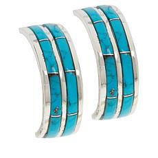 Chaco Canyon  Kingman Turquoise Double-Row Inlay Hoop Earrings