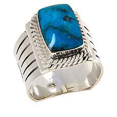 Chaco Canyon Men's Kingman Turquoise Rectangular Stone Ring
