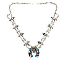 Chaco Canyon Naja Sleeping Beauty Turquoise  2-Row Squash Necklace