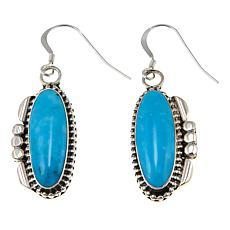 Chaco Canyon Oval Kingman Turquoise Sterling Silver Bead Drop Earrings