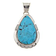 Chaco Canyon Pear-Shape Kingman Turquoise Sterling Silver Pendant