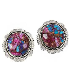 Chaco Canyon Purple Dahlia Turquoise/Spiny Oyster Stud Earrings