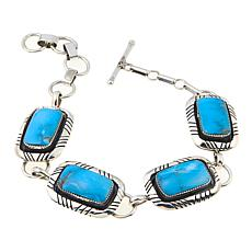 Chaco Canyon Rectangular Kingman Turquoise Station Bracelet