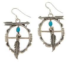 Chaco Canyon Sleeping Beauty Turquoise Shield and Feather Earrings