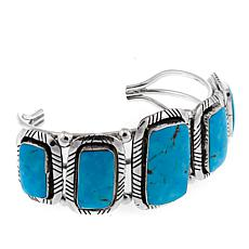 Chaco Canyon Southwest 5-Stone Turquoise Sterling Silver Cuff Bracelet
