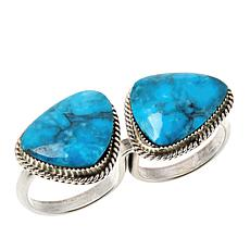 Chaco Canyon Sterling Silver Kingman Turquoise 2-Finger Ring