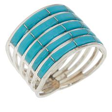 Chaco Canyon Sterling Silver Kingman Turquoise 5-Row Inlay Band Ring