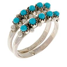 Chaco Canyon Sterling Silver Kingman Turquoise Beaded 2-piece Ring Set