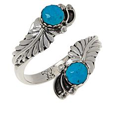 Chaco Canyon Sterling Silver Kingman Turquoise Leaf Bypass Ring