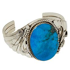 Chaco Canyon Sterling Silver Kingman Turquoise Round Stone Fan Cuff