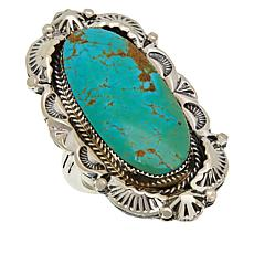 Chaco Canyon Sterling Silver Navajo Kingman Turquoise Ring