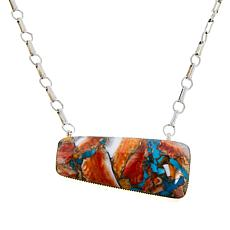 Chaco Canyon Sterling Silver Turquoise and Spiny Oyster Slab Necklace