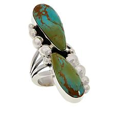 Chaco Canyon Sterling Silver Turquoise Elongated 2-Stone Ring