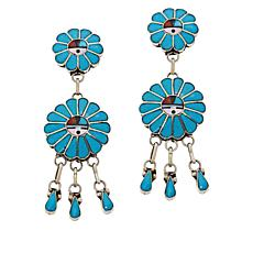 Chaco Canyon Sterling Silver Zuni Gemstone Inlay Fringe Drop Earrings