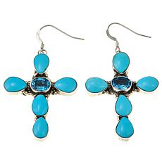 Chaco Canyon Swiss Blue Topaz and Kingman Turquoise Cross Earrings