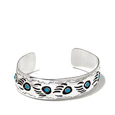 Chaco Canyon Turquoise Bear Claw Sterling Silver Cuff