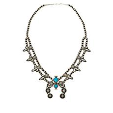 Chaco Canyon Turquoise Squash Blossom Drop Necklace