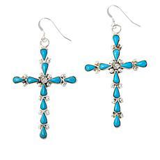 Chaco Canyon Zuni Kingman Turquoise Cross Drop Earrings