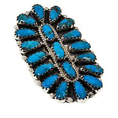 Chaco Canyon Zuni Sleeping Beauty Turquoise Cluster Ring