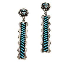 "Chaco Canyon Zuni Sleeping Beauty Turquoise ""Sunface"" Earrings"