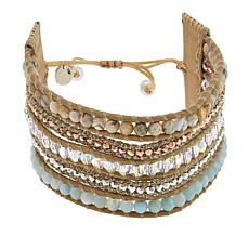 Chan Luu Amazonite and Mixed Stone Multi-Row Cuff Bracelet