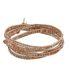 Chan Luu Pink Moonstone and Mixed Stone Leather Multi Wrap Bracelet