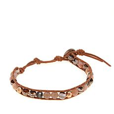 Chan Luu Sunstone and Mixed Stone Leather Wrap Bracelet