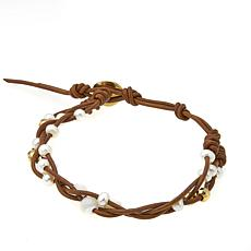 Chan Luu White Cultured  Pearl Twisted Brown Leather Cord Bracelet